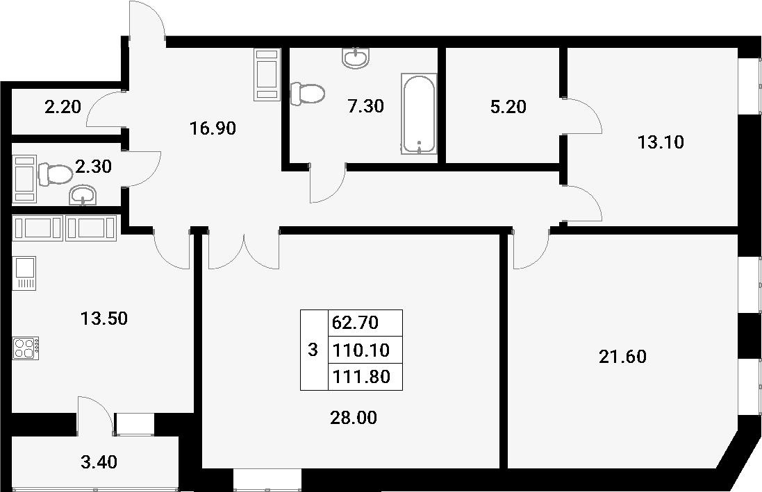 3-к.кв, 113.5 м²