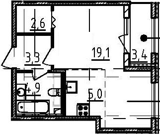 Студия 38 м<sup>2</sup> на 2 этаже