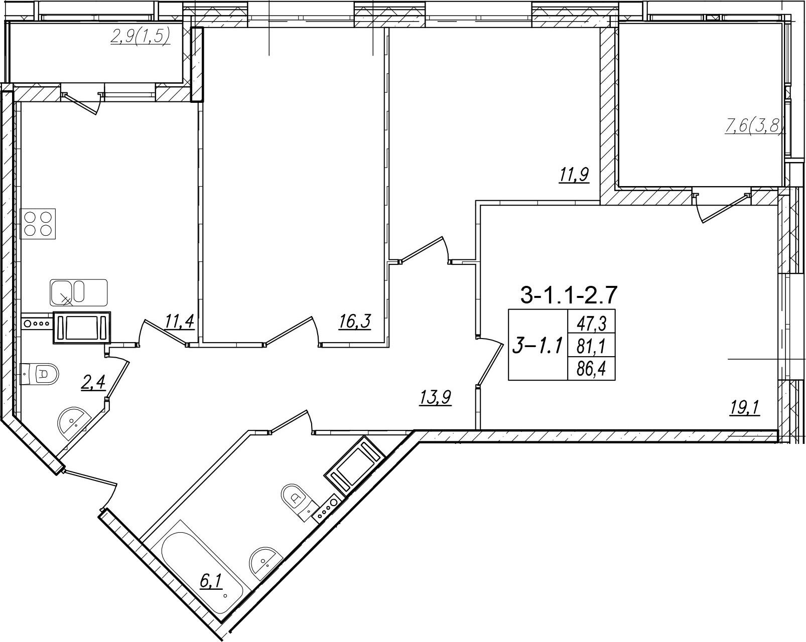 3-к.кв, 91.7 м²
