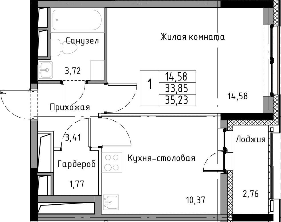 1-комнатная 36 м<sup>2</sup> на 12 этаже