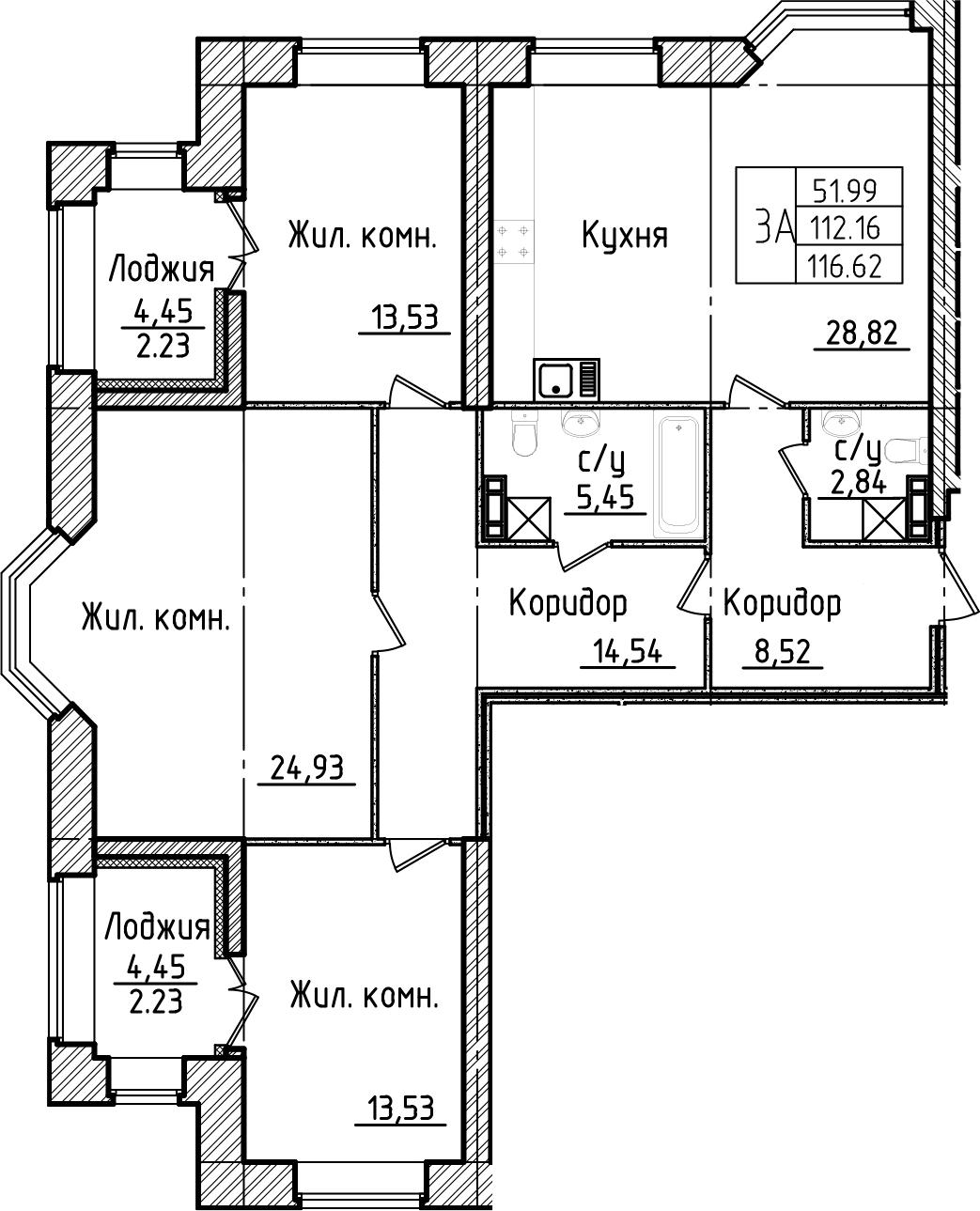 3-комнатная 121 м<sup>2</sup> на 3 этаже