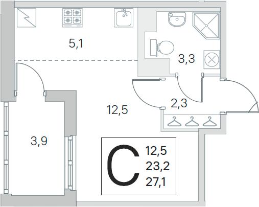 Студия 31 м<sup>2</sup> на 3 этаже