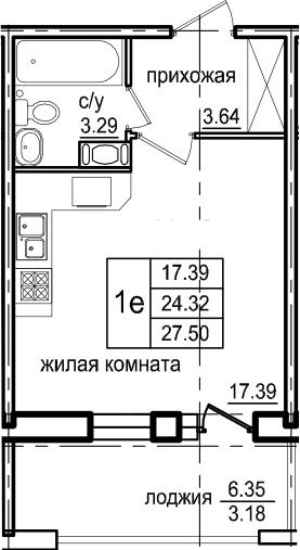 Студия 30 м<sup>2</sup> на 5 этаже