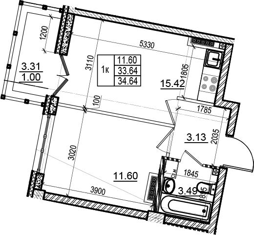 2-комнатная 36 м<sup>2</sup> на 6 этаже