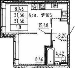 2-к.кв (евро), 31.56 м²