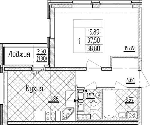1-комнатная 40 м<sup>2</sup> на 14 этаже