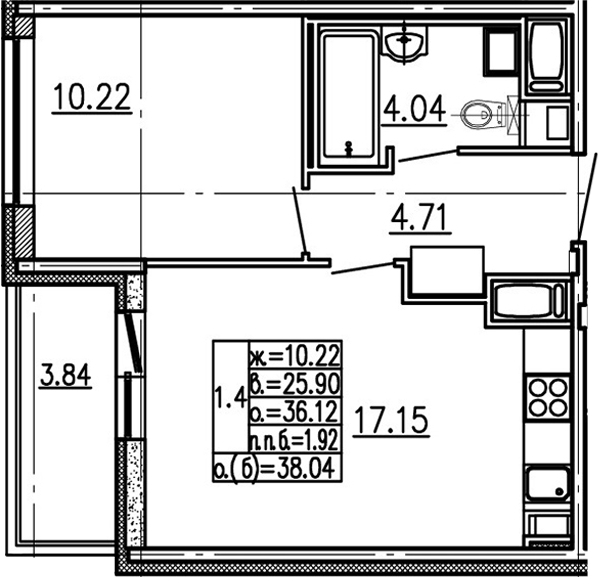 2-комнатная 39 м<sup>2</sup> на 15 этаже