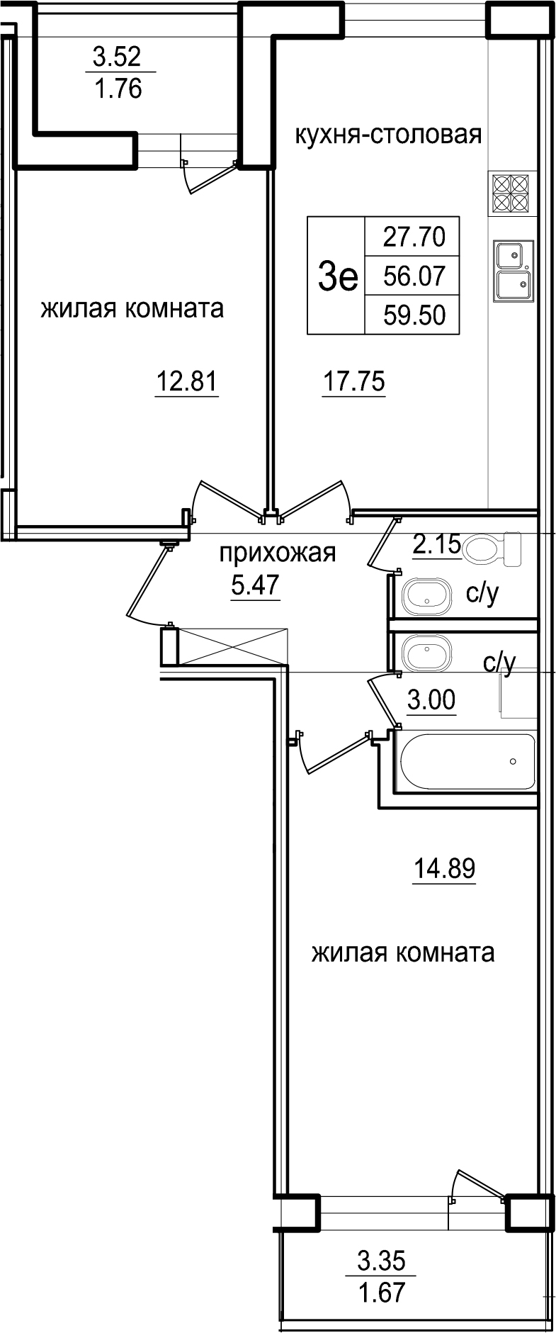 3-к.кв (евро), 62.93 м²