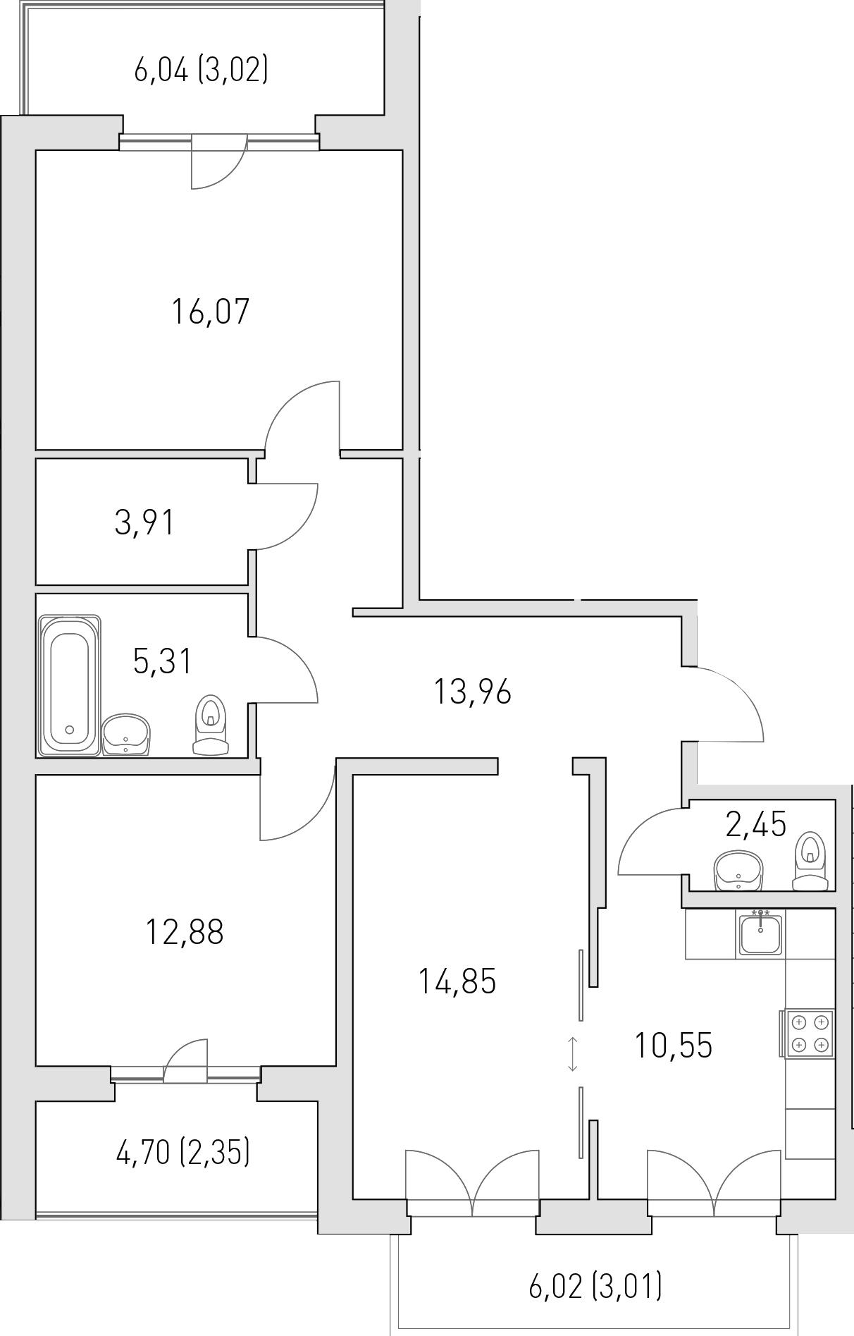 3-комнатная 96 м<sup>2</sup> на 3 этаже