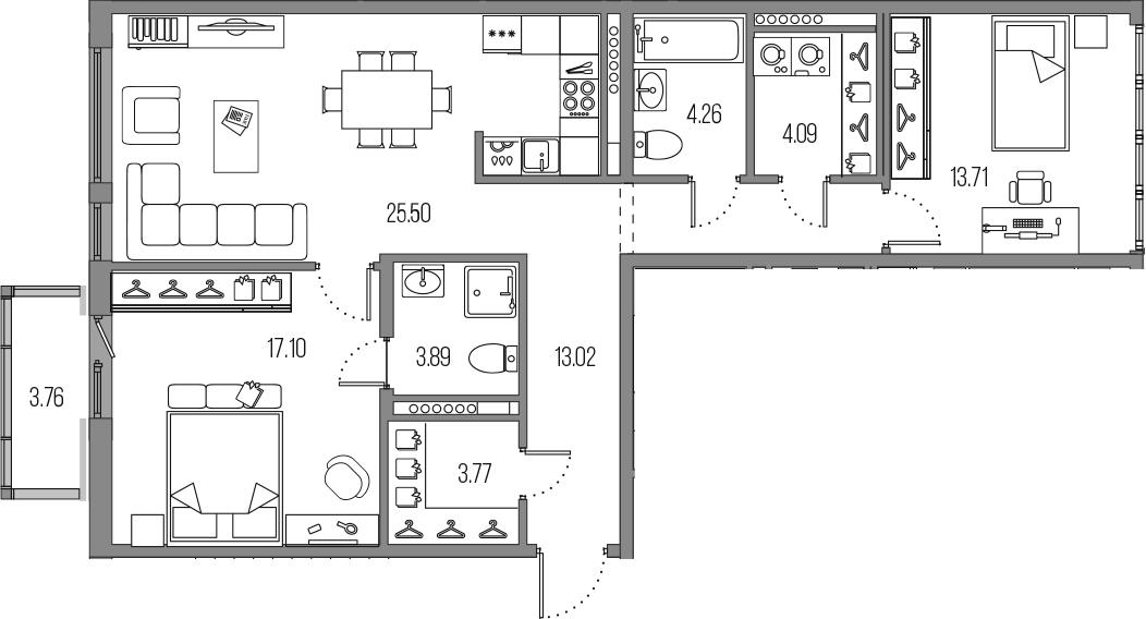 3-комнатная 89 м<sup>2</sup> на 7 этаже