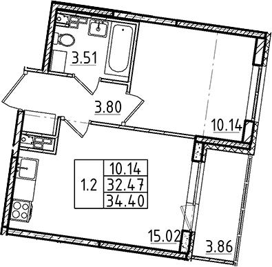 2-комнатная 36 м<sup>2</sup> на 4 этаже