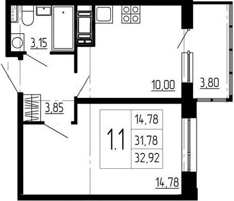 1-к.кв, 35.58 м²