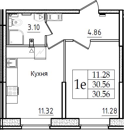 1-комнатная 30 м<sup>2</sup> на 1 этаже