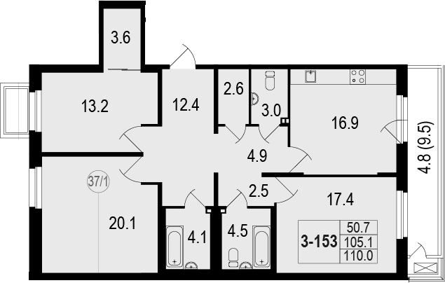 4-комнатная 114 м<sup>2</sup> на 1 этаже