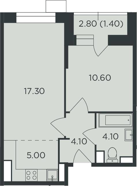 2-к.кв (евро), 43.9 м²