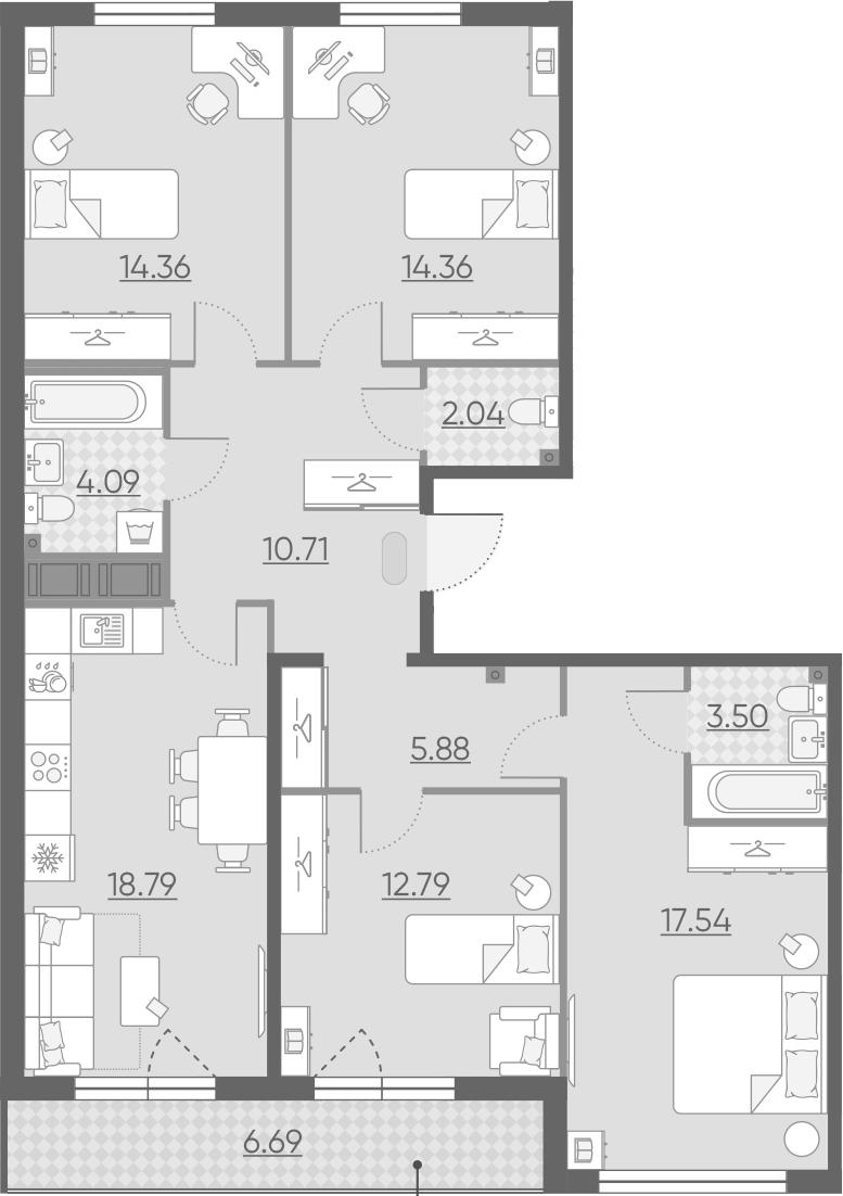4-комнатная 110 м<sup>2</sup> на 13 этаже