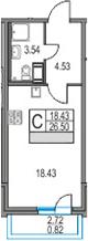 Студия 29 м<sup>2</sup> на 21 этаже