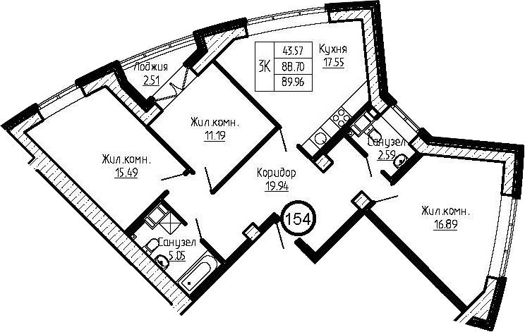 4-комнатная 91 м<sup>2</sup> на 4 этаже
