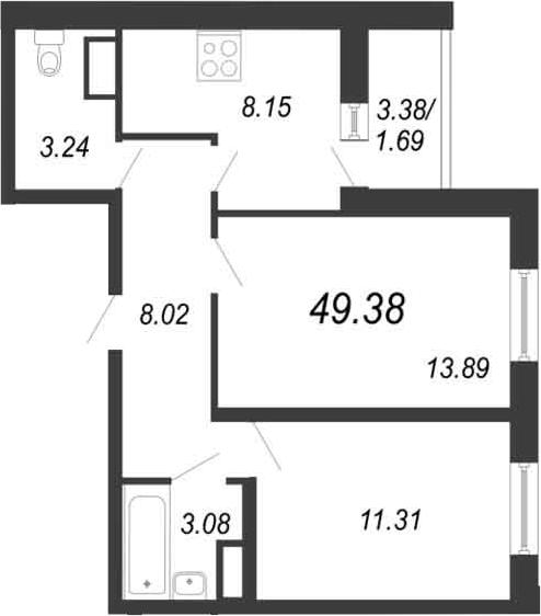 2-к.кв, 51.07 м²