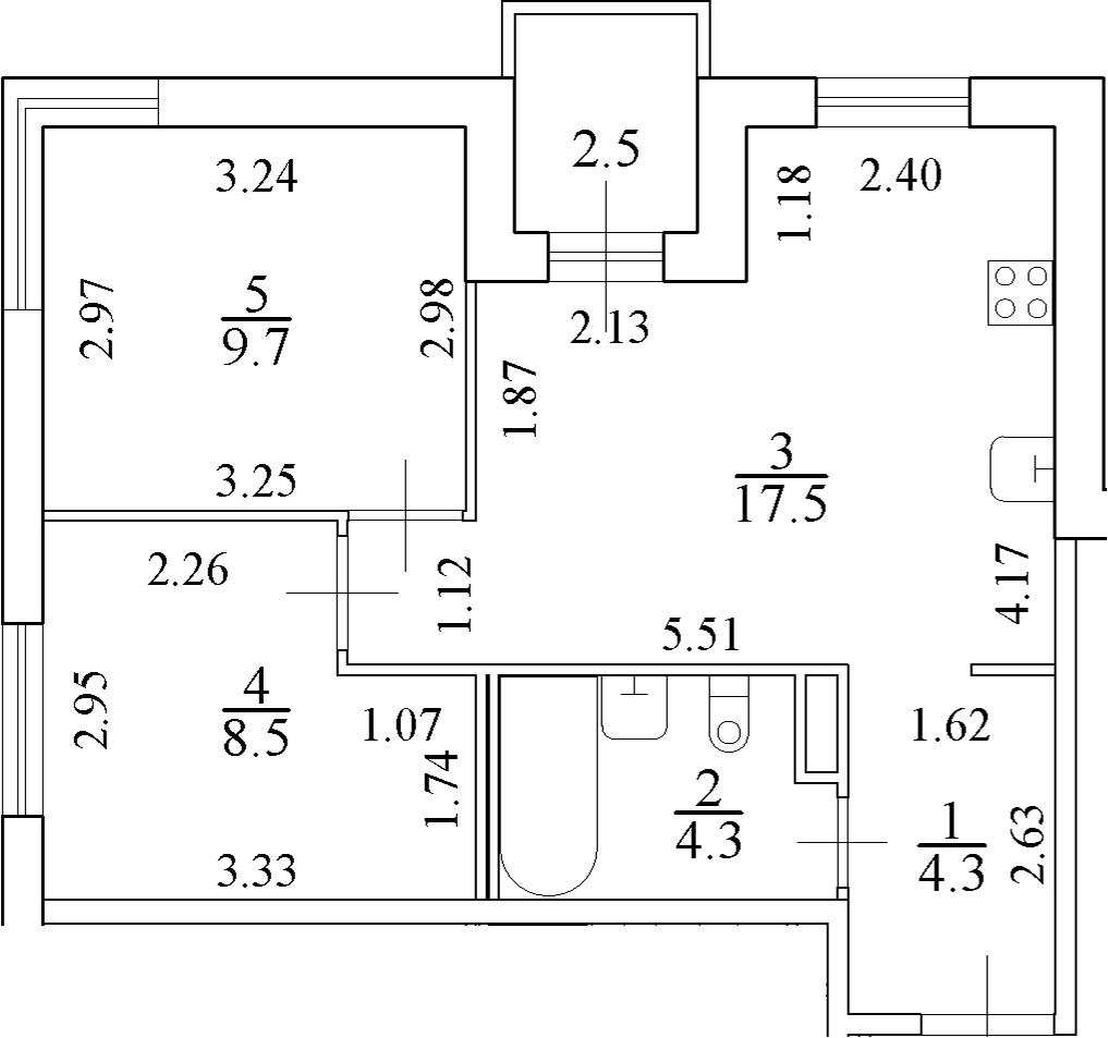 3-комнатная 46 м<sup>2</sup> на 2 этаже