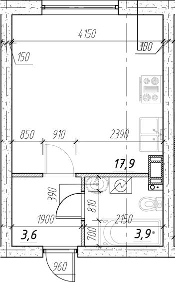 Студия, 25.4 м²