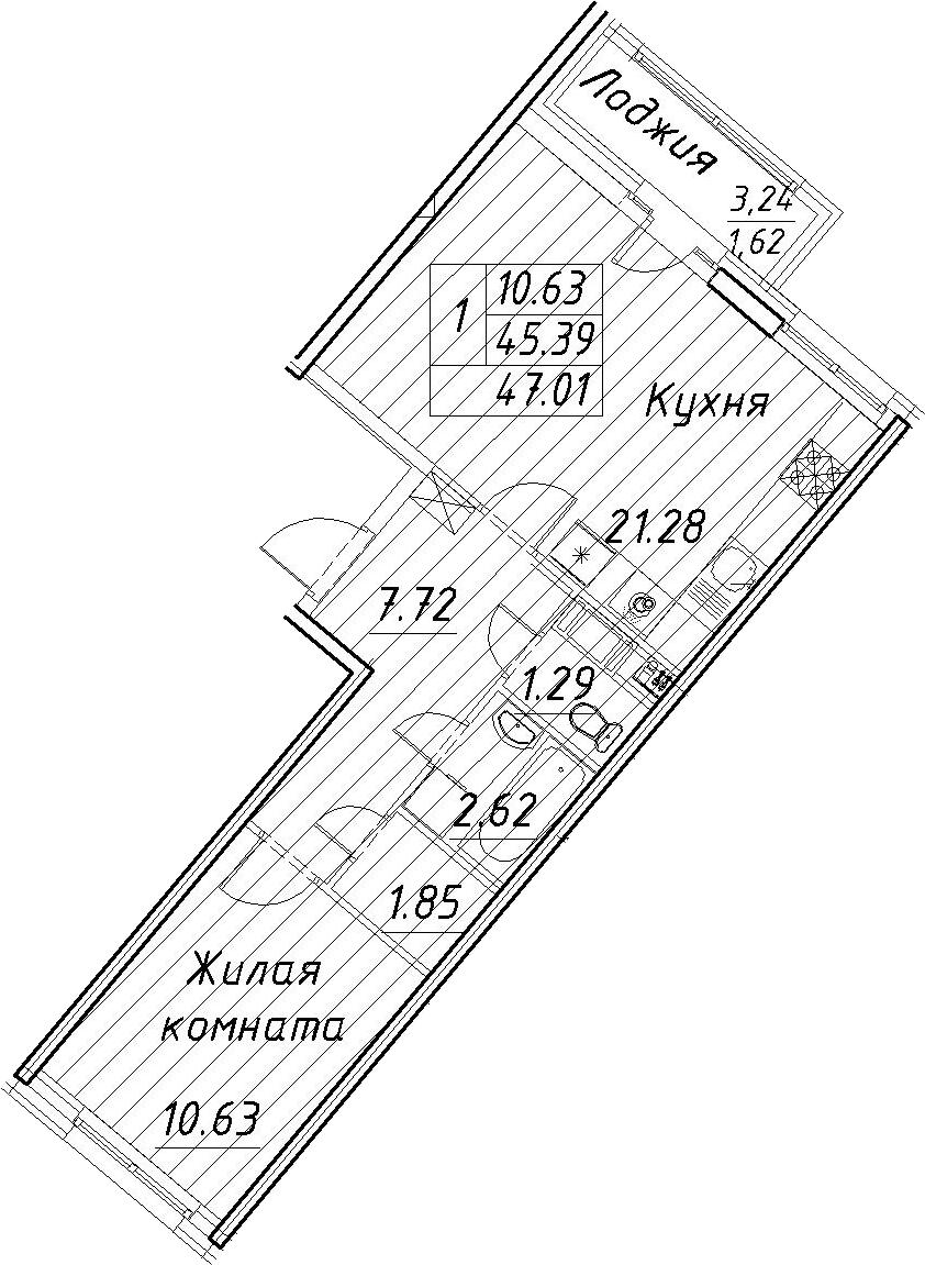 2-комнатная 48 м<sup>2</sup> на 4 этаже