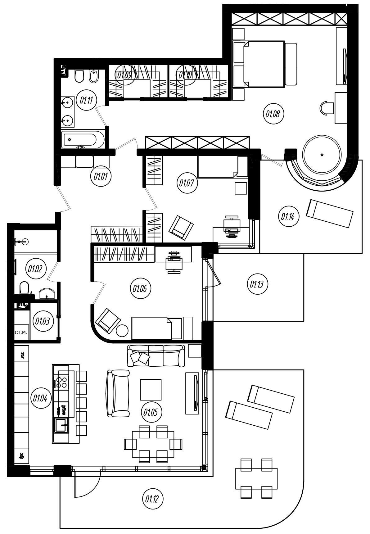 4-комнатная 184 м<sup>2</sup> на 1 этаже