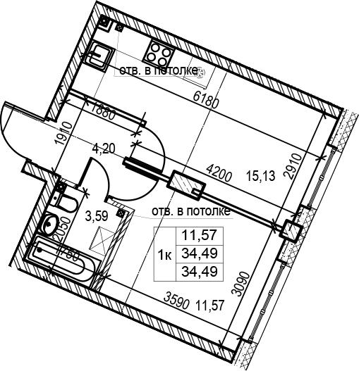 2-комнатная 34 м<sup>2</sup> на 2 этаже