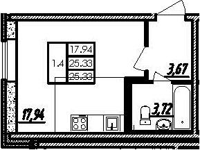 Студия, 25.33 м²