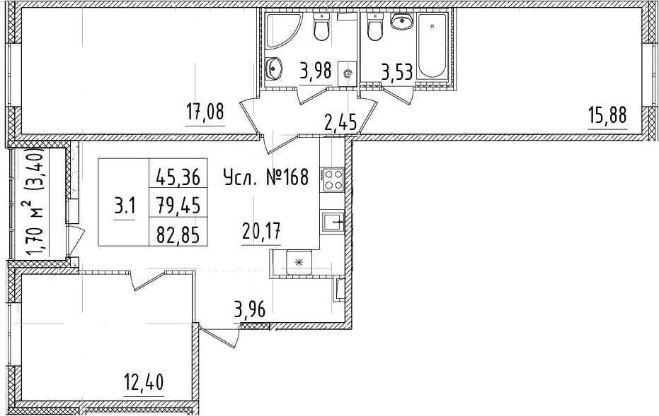 4-к.кв (евро), 82.85 м²