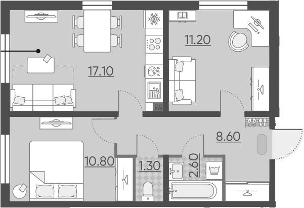 3-комнатная 51 м<sup>2</sup> на 1 этаже