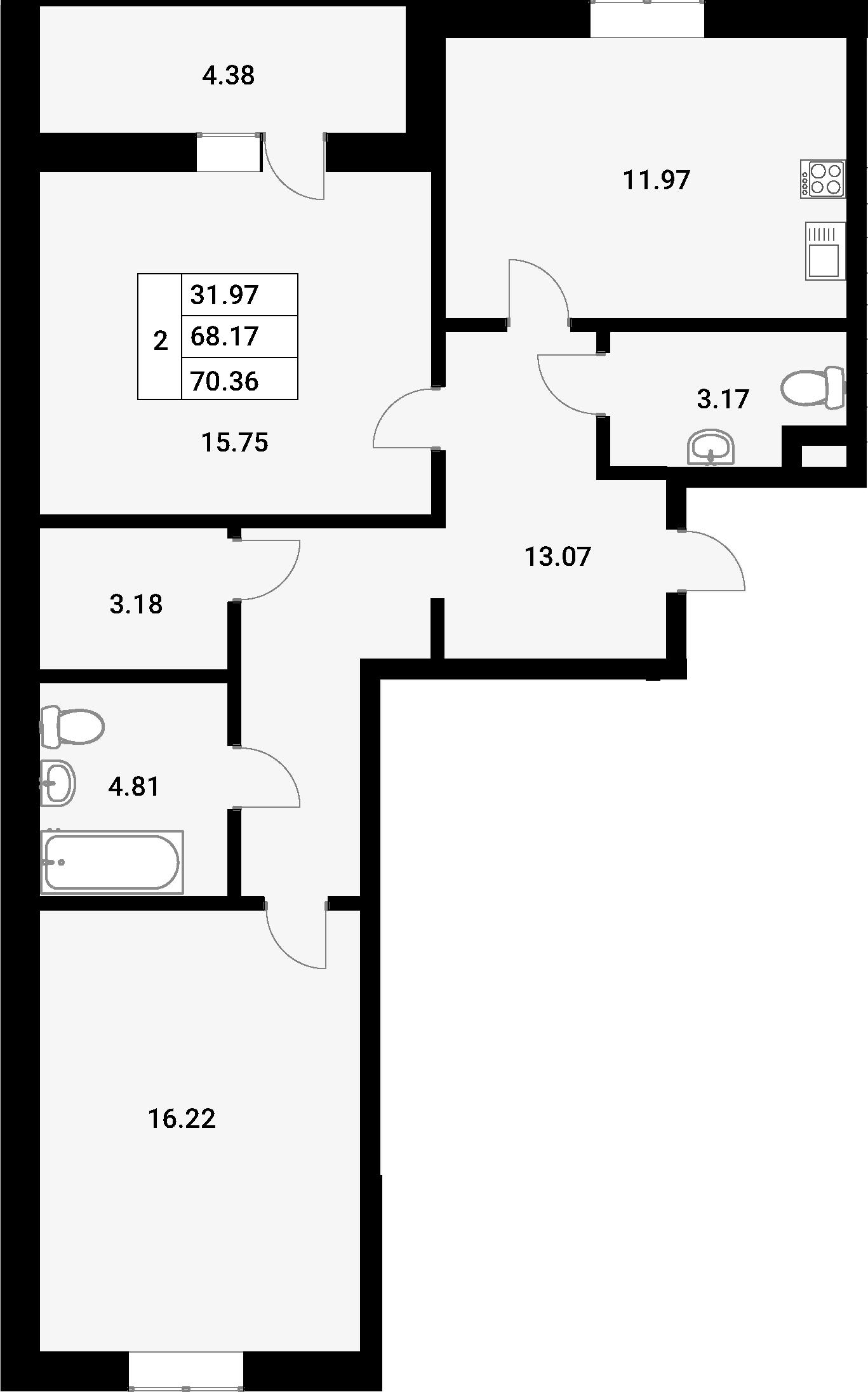 2-комнатная 72 м<sup>2</sup> на 1 этаже