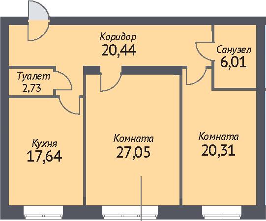2-к.кв, 91.2 м²