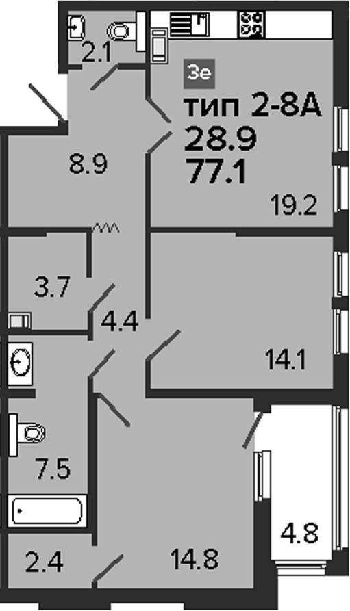 3-комнатная 81 м<sup>2</sup> на 6 этаже