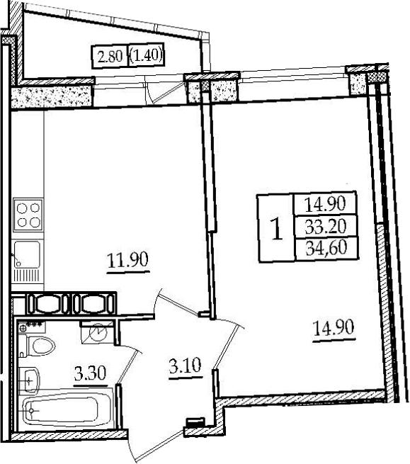 1-комнатная 36 м<sup>2</sup> на 14 этаже