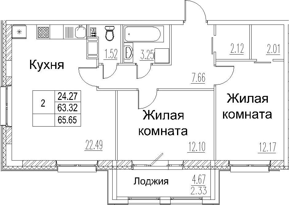 3-комнатная 67 м<sup>2</sup> на 6 этаже