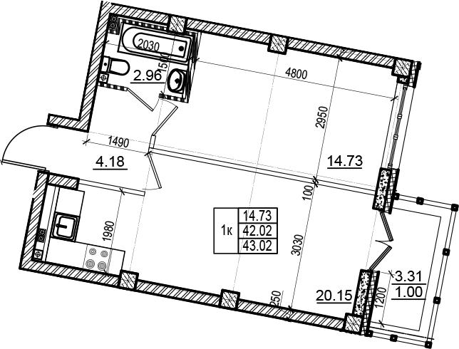 2-комнатная 45 м<sup>2</sup> на 4 этаже