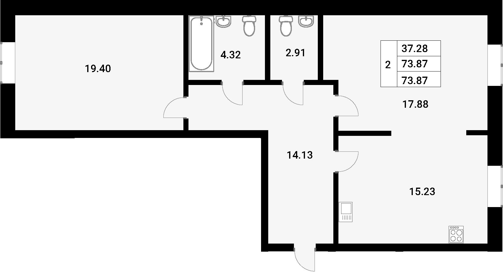 2-комнатная 73 м<sup>2</sup> на 1 этаже