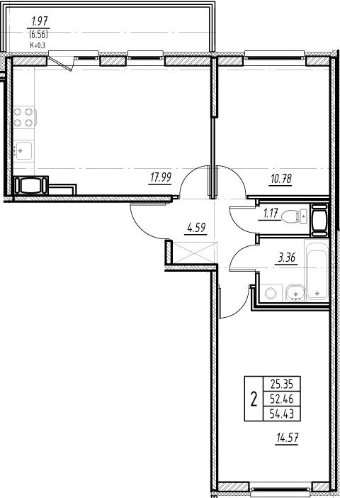 3-комнатная 59 м<sup>2</sup> на 13 этаже