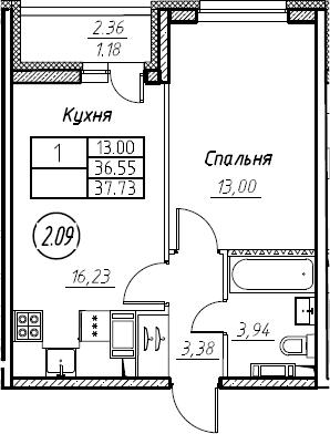 2-комнатная 38 м<sup>2</sup> на 15 этаже