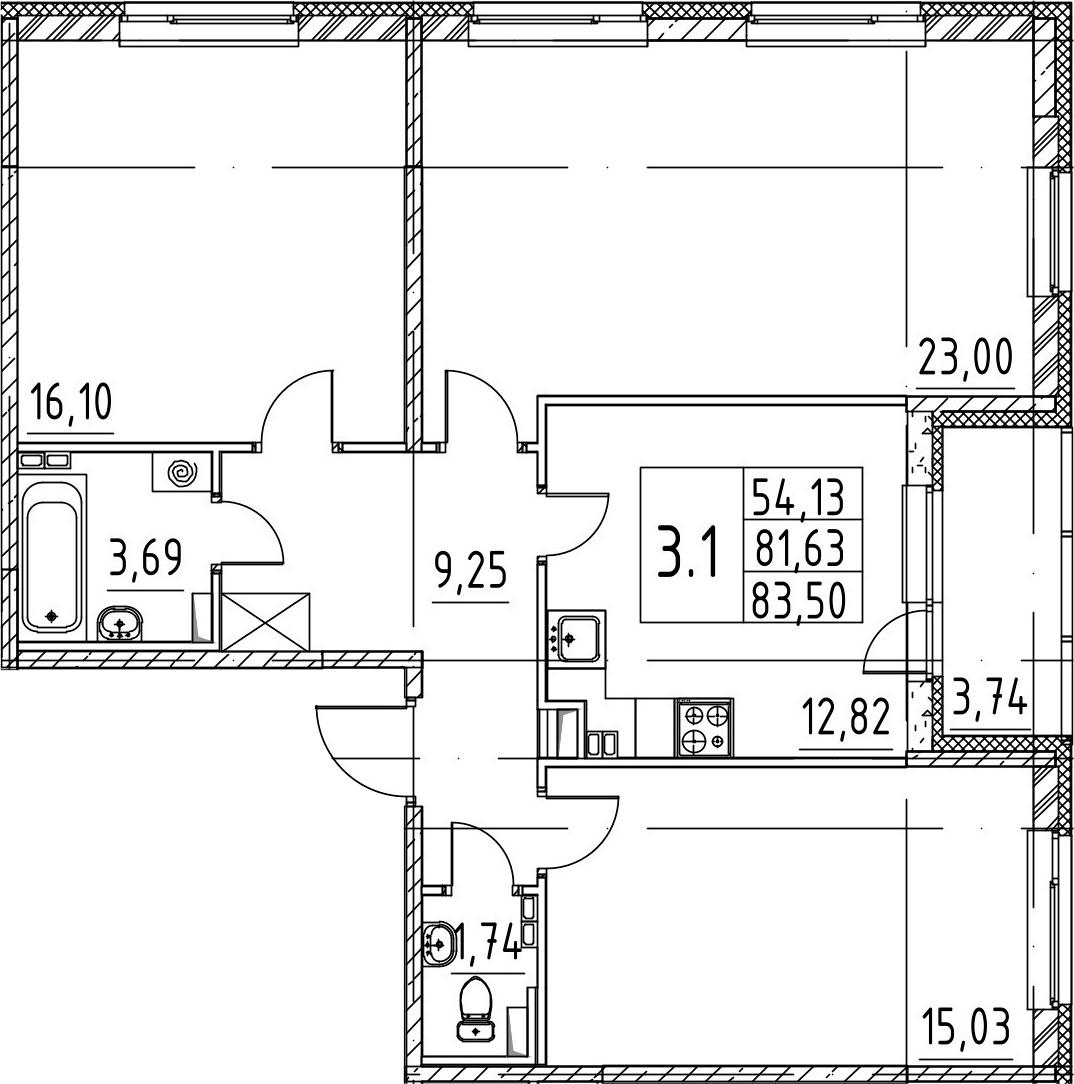 3-комнатная 85 м<sup>2</sup> на 3 этаже