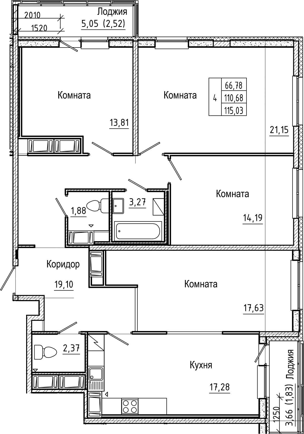 4-комнатная 119 м<sup>2</sup> на 23 этаже