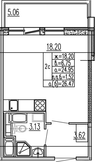 Студия 30 м<sup>2</sup> на 15 этаже