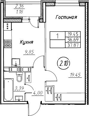 1-комнатная 39 м<sup>2</sup> на 15 этаже