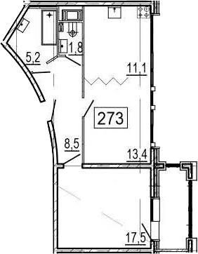 2-комнатная 62 м<sup>2</sup> на 11 этаже