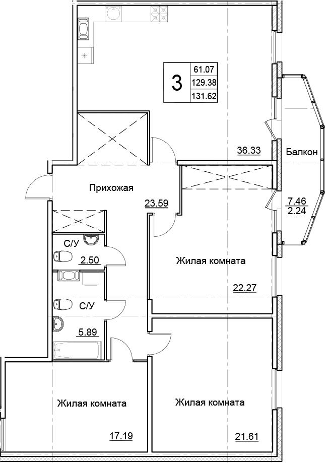 4-комнатная 136 м<sup>2</sup> на 14 этаже