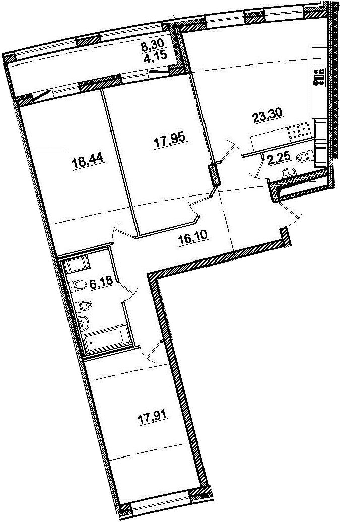 4-комнатная 110 м<sup>2</sup> на 3 этаже