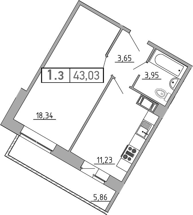 1-к.кв, 43.03 м²