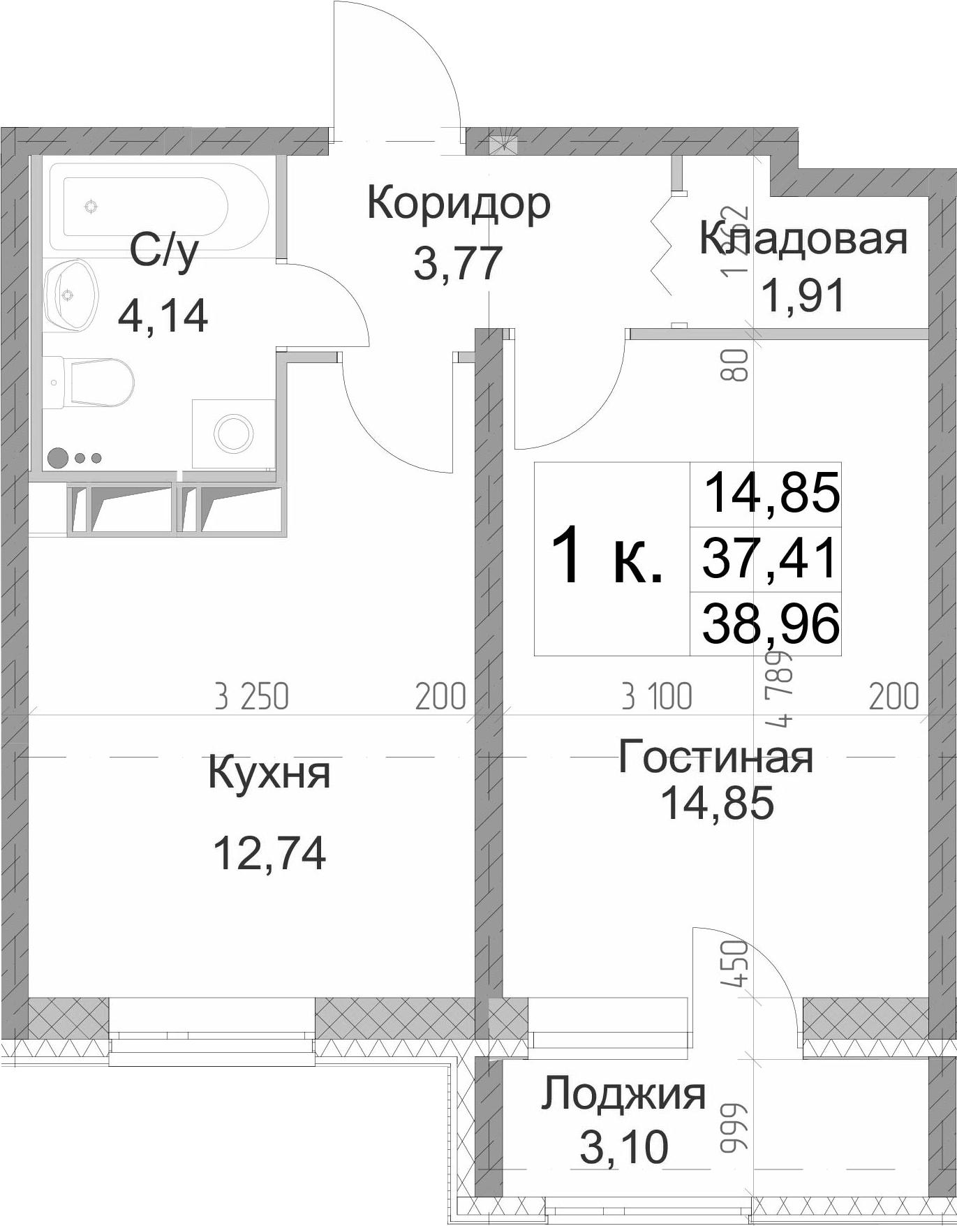 1-комнатная 40 м<sup>2</sup> на 13 этаже