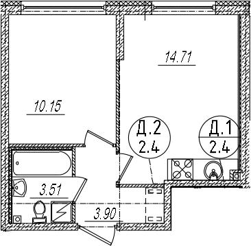 2-комнатная 32 м<sup>2</sup> на 2 этаже